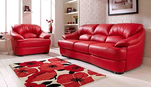 Červená kožená sedacia súprava