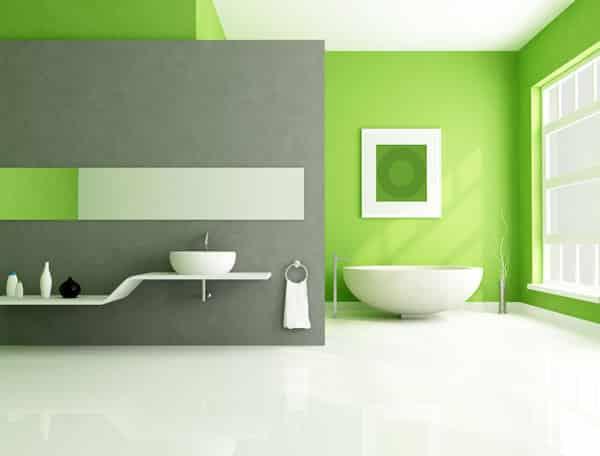 Moderná zelená kúpeľňa