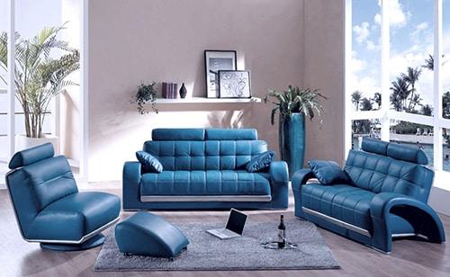 Modrá kožená sedačka