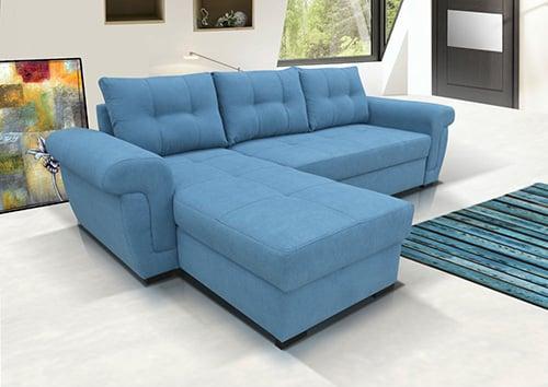 Modrá sedačka s poťahom alcatanara