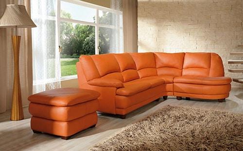 Oranžová kožená sedačka