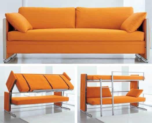 Oranžová rozkladacia sedačka