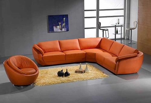 Oranžová sedacia kožená súprava