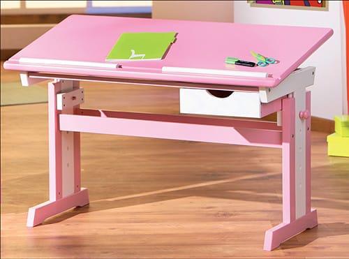 Ružový nastaviteľný stôl
