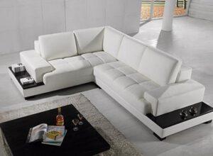 Moderná kožená sedačka - biela