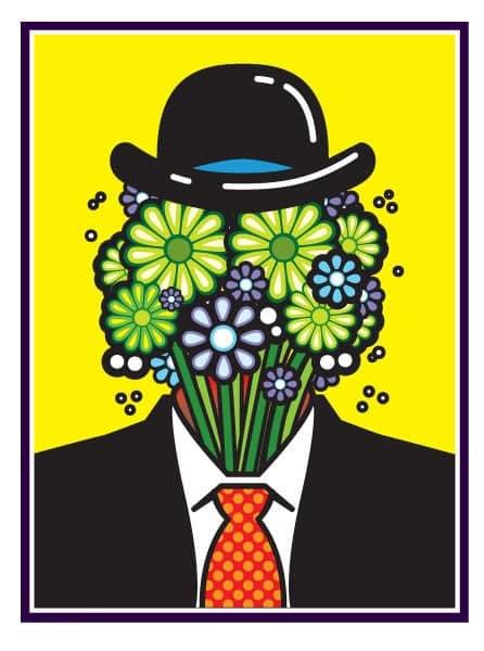 Moderný obraz - hlava s kvetmi