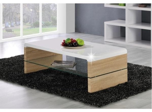 Moderný konferenčný stolík z dreva a skla