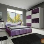 Bielo-fialová spálňa