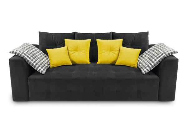 Čierna čalúnená sedačka