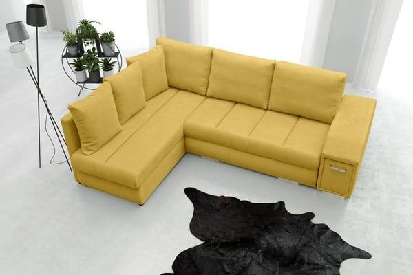 Žltá sedačka v tvare L